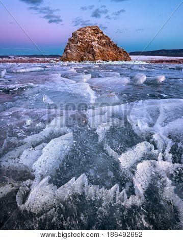 Baikal Lake Ice and Island Edor in the Evening Baikal Lake Russia