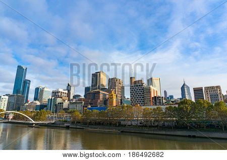 Beautiful Melbourne Cityscape On Sunny Morning