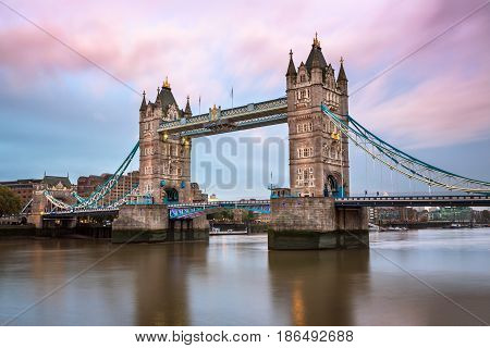 Tower Bridge and River Thames in the Morning London United Kingdom