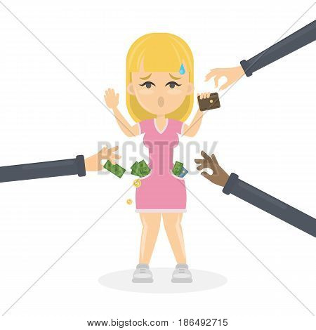 Business robbery concept illustration. Sad worried woman with hands up is robbed by thieves.