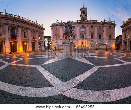 Piazza del Campidoglio and Emperor Marcus Aurelius Statue in the Morning Rome Italy