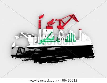 Energy and Power icons set and grunge brush stroke. Energy generation and heavy industry relative image. Flag of the Iraq. 3D rendering
