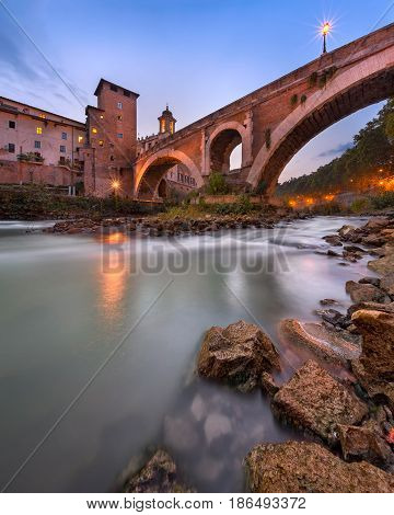 Fabricius Bridge and Tiber Island in the Evening Rome Italy
