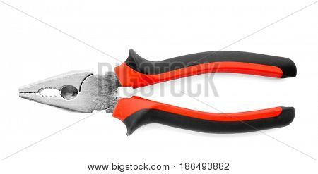 Pliers on white background, top view