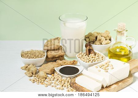 The various soy products on a table