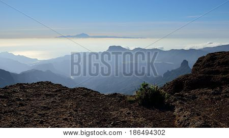 Summit of Gran canaria and Tenerife island in background, Canary islands