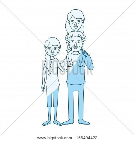 blue silhouette shading caricature family with mother and father with moustache and girl on his back vector illustration