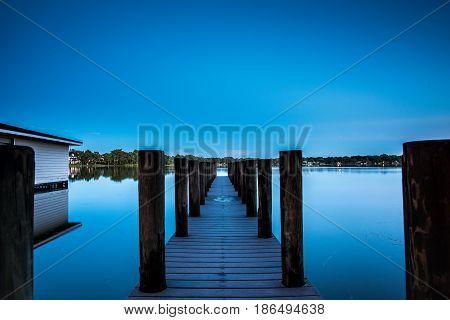 Moonlight Longexposure Pier over Virginia Lake Florida