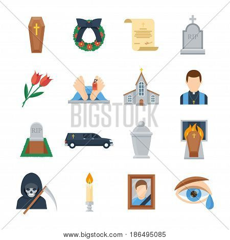 Funeral vector icon set in a flat style. Ritual services, funeral agency concept illustration. Funeral accessories wreath, coffin, candles, urn for ashes, tombstone, will.