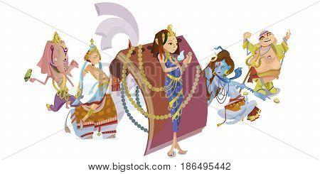 God Ganesha. Invitation cards Dawali Holiday.Raster illustration
