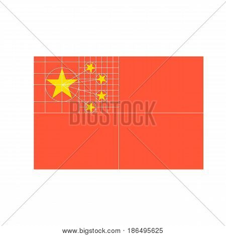 China flag , flat design vector with structure of five stars in official proportion