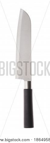 Big one knife santoku with black handle on white background
