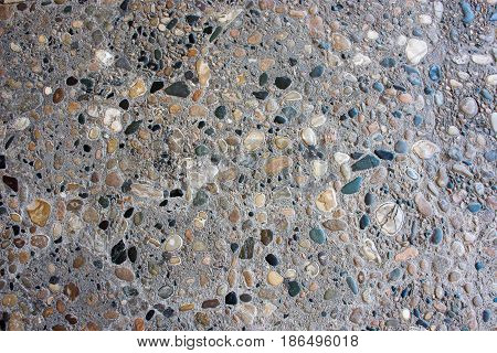 Stone Paving Stone Of Small Colored Stones Background