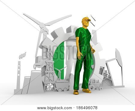Young man wearing apron. Bearded worker at industrial isometric icons set with Nigeria flag. 3D rendering. Metallic material. Energy generation and heavy industry.