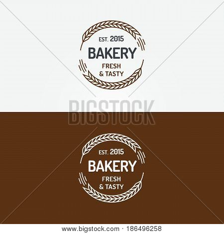 Bakery logo set with wheats line style isolated on background for loaf store, bread house, coffee shop, cupcake firm, food market, cafe. Vector Illustration