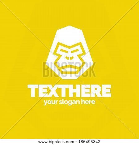 Gorilla emblem with head gorilla white color flat style isolated on yellow background for animal shop, pet store, design studio, zoo,t-shirt, emblem, sticker, logotype, badge etc. Vector Illustration