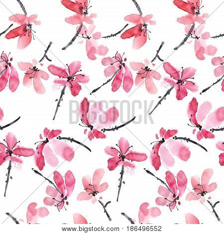 Watercolor and ink illustration of red flowers. Sumi-e u-sin painting. Seamless pattern.