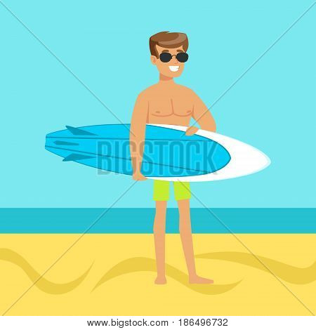 Surfer walking on the beach with surfboard colorful vector Illustration