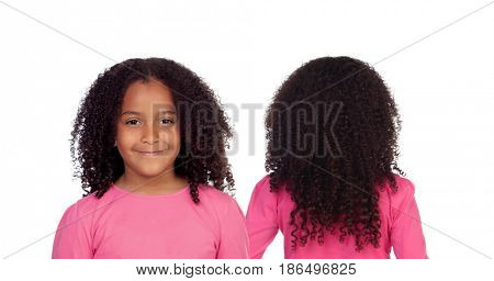 Little african girl with long curly hair isolated on a white background