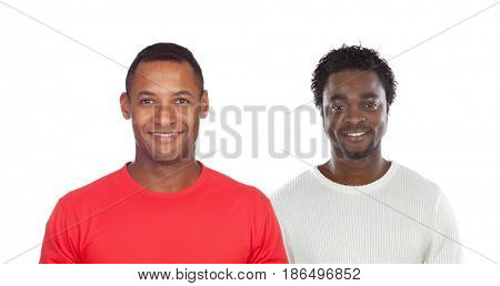 Two handsome men isolated on a white backgroung