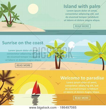 Palm coast rest banner horizontal concept set. Flat illustration of 3 palm coast rest vector banner horizontal concepts for web