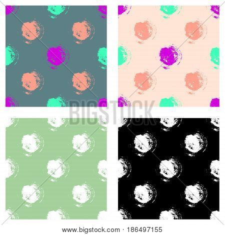 Vector Set Of Seamless Patterns, Tiles With Inc Splash, Blots, Smudge And Brush Strokes In The Shape