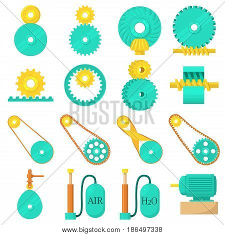 Moving mechanisms icons set. Cartoon illustration of 16 moving mechanisms vector icons for web