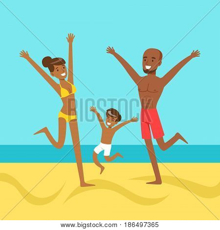 Happy mother and father with their son jumping together on a beach, colorful vector Illustration