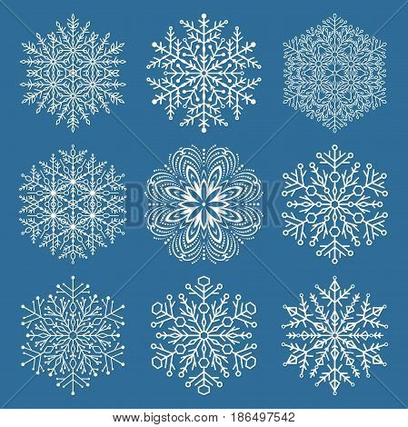 Set of white snowflakes. Fine winter ornament. Snowflakes collection. Snowflakes for backgrounds and designs