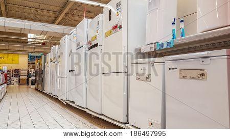 Eskisehir Turkey - April 17 2017: Home appliances for sale in a supermarket hall in Eskisehir Turkey