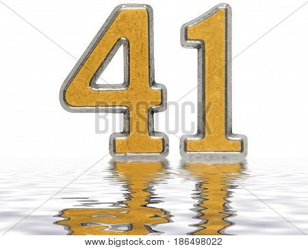 Numeral 41, Forty One, Reflected On The Water Surface, Isolated On White, 3D Render
