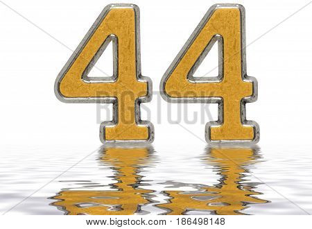 Numeral 44, Forty Four, Reflected On The Water Surface, Isolated On White, 3D Render
