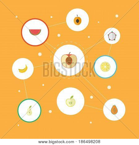 Flat Pawpaw, Nectarine, Duchess And Other Vector Elements. Set Of Fruit Flat Symbols Also Includes Apple, Duchess, Jonagold Objects.