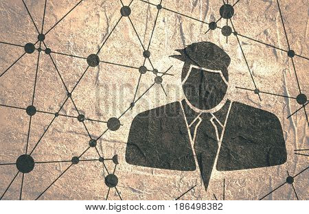 Businessman in suit icon. Comb hairstyle. Monochrome silhouette. Brochure, report or leaflet design template. Molecule And Communication Background. Connected lines with dots. Grunge concrete texture