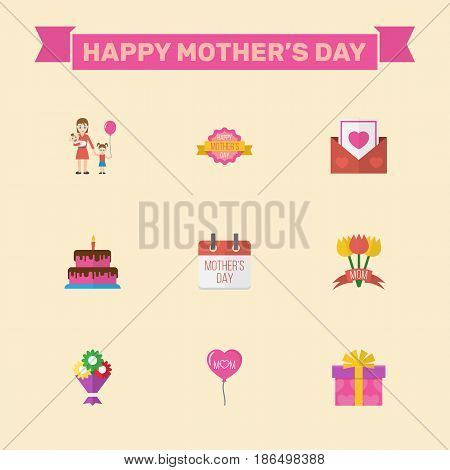 Happy Mothers Day. Flat Design Concept Includes Special Day, Design And Flower Symbols. Vector Festive Holiday Illustration.