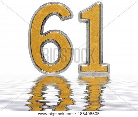 Numeral 61, Sixty One, Reflected On The Water Surface, Isolated On White, 3D Render