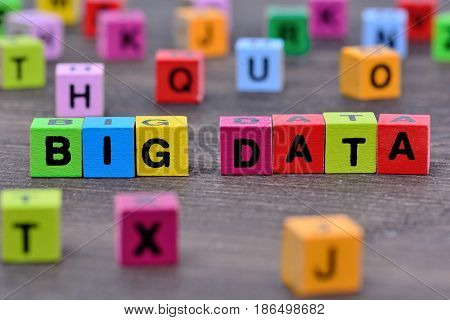 The words Big Data on wooden table