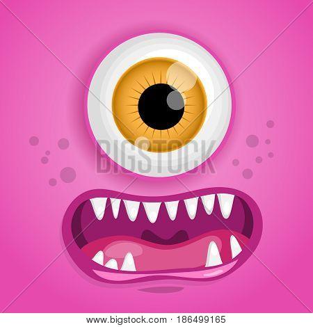 Cartoon monster face. Vector Halloween pink smiling fairy tale avatar. Vector illustration.