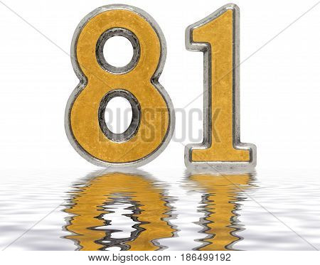 Numeral 81, Eighty One, Reflected On The Water Surface, Isolated On White, 3D Render