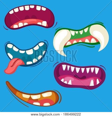 Cartoon cute monster mouths set with different emotional expressions. Teeth, tongue, mouth collection. Halloween vector illustration.