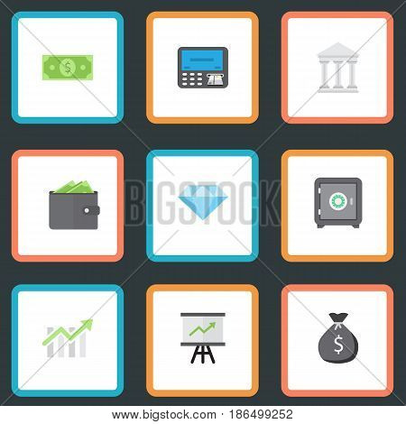 Flat Finance Sack, Strongbox, Money And Other Vector Elements. Set Of Business Flat Symbols Also Includes Dollar, Building, Wallet Objects.