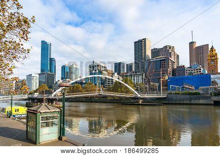 Evan Walker Pedestrian Bridge And Melbourne Cbd Cityscape