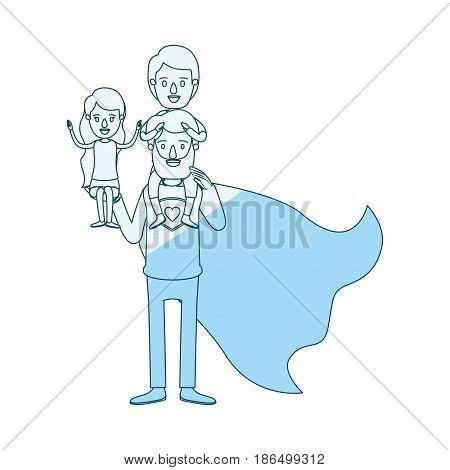 blue silhouette shading cartoon full body super dad hero with girl on his hand and boy on his back vector illustration