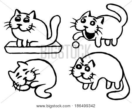 Cute Cats Emoticons Set. Funny Cartoon Cool Character. Contour Freehand Digital Drawing Cats. White Color Background. Cheerful Pet Collection for Web Icons and Shirt. Isolated Vector Illustration.