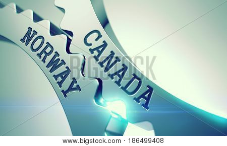 Canada Norway on Mechanism of Shiny Metal Cogwheels with Lens Flare - Interaction Concept. Canada Norway on Mechanism of Metallic Cogwheels. Communication Concept in Technical Design. 3D .
