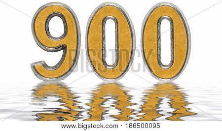 Numeral 900, Nine Hundred, Reflected On The Water Surface, Isolated On White, 3D Render