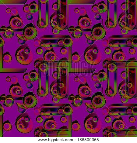 Abstract geometric seamless background. Regular concentric circles pattern purple, orange, green and brown shades overlaying.