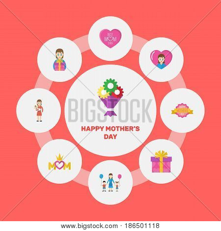 Happy Mothers Day. Flat Design Concept Includes Present, Emotion And Mam Symbols. Vector Festive Holiday Illustration.