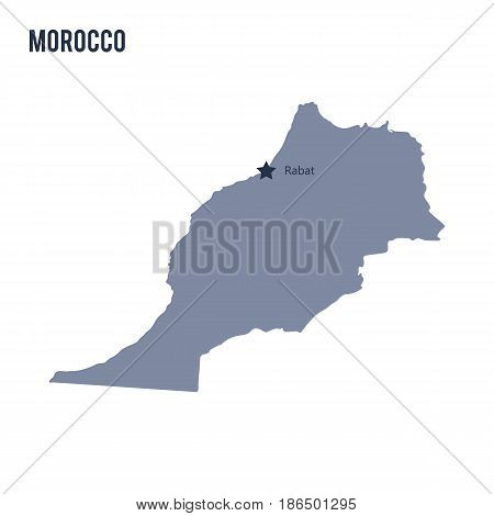 Vector map of Morocco isolated on white background. Travel Vector Illustration.