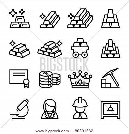 Gold icon set in thin line style vector illustration Graphic design